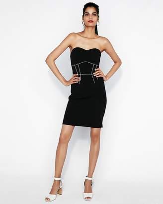 Express Contrast Stitch Strapless Sheath Dress