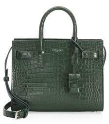 Saint Laurent Nano Sac De Jour Croc-Embossed Leather Tote