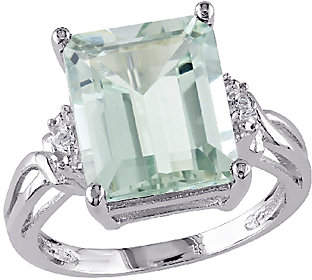 QVC 5.60cttw Emerald Cut Green Amethyst Ring, Sterl
