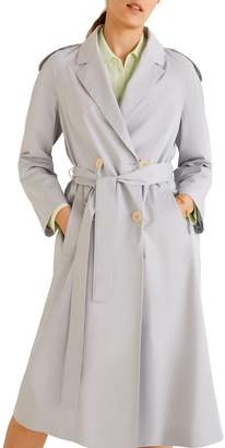 MANGO Forty Double-Breasted Cotton Trench Coat