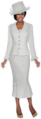 GIOVANNA COLLECTION Giovanna Collection Women's 2-PC Brocade Notch Collar Skirt Suit