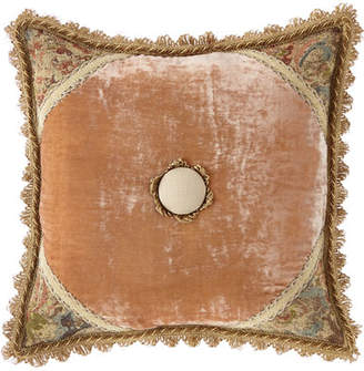 Dian Austin Couture Home Viburnum Pillow Square with Rosette Center