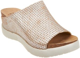Fly London Perforated Leather Slide Sandals - Whin
