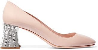 Miu Miu Crystal-embellished Patent-leather Pumps - Beige