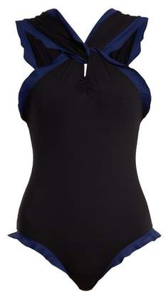 Marysia Swim Oxford Contrast Trim Swimsuit - Womens - Black Navy