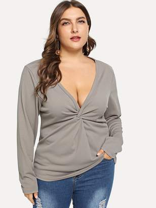 681202b1ae Shein Plus Plunging Neck Twist Detail Tee