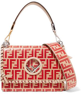 Fendi Kan I Whipstitched Embossed Leather Shoulder Bag - Red