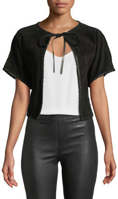 Roberto Cavalli Short-Sleeve Suede Vest w/ Whipstitch Trim