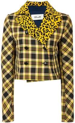 Diane von Furstenberg plaid and leopard print jacket