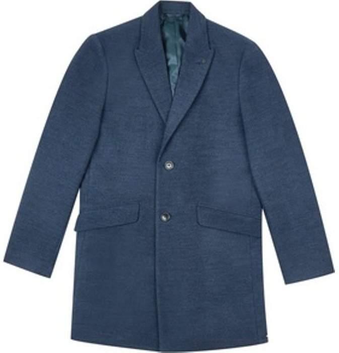 Womens **Burton Blue Faux Wool Chesterfield Overcoat