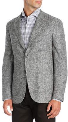 Isaia Herringbone Wool-Silk-Cashmere Sport Coat