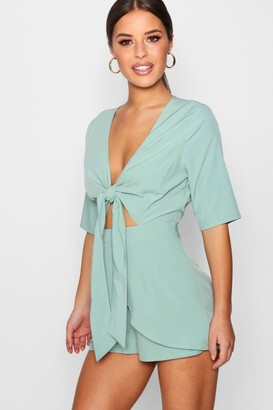 boohoo Petite Knot Front Plunge Playsuit
