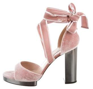 Valentino Velvet Lace-Up Sandals