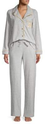 Juicy Couture Two-Piece Logo Embroidery Pajama Set