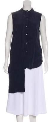OAK Sleeveless Silk Button-Up Top