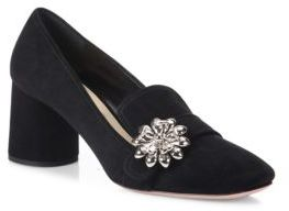 Prada Flower-Embellished Suede Block Heel Loafer Pumps $750 thestylecure.com