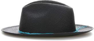 Cubavera Black Fedora with Turquoise Cord