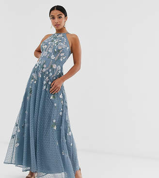 Asos Design DESIGN Petite maxi dress with pinny bodice in embroidered dobby