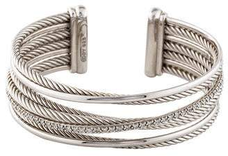 David Yurman Diamond Four-Row Crossover Cuff