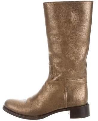 Prada Metallic Leather Boots