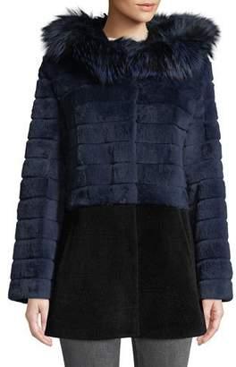 Belle Fare Sheepskin & Rabbit Fur Hooded Coat