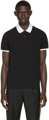 Moncler Black Contrast Collar Polo $155 thestylecure.com