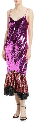 Sachin + Babi Maslak Sequin Flounce-Hem Slip Cocktail Dress