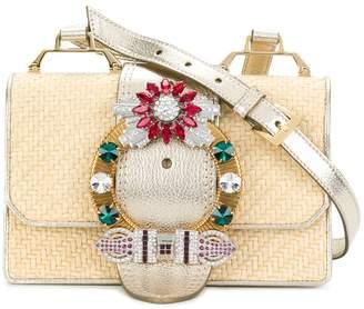 Miu Miu Beige Madras crystal raffia cross body bag