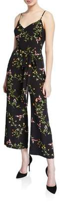 L'Agence Jaelyn V-Neck Cami-Top Straight-Leg Floral-Print Silk Jumpsuit