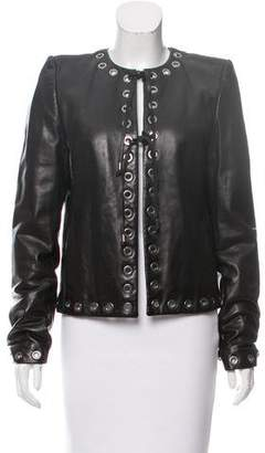 Plein Sud Jeans Grommet-Accented Leather Jacket
