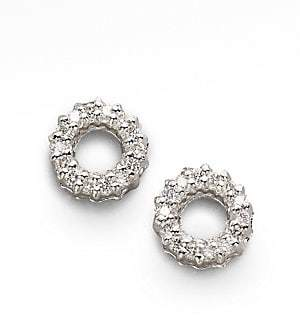 Roberto Coin Diamond & 18K White Gold Circle Earrings