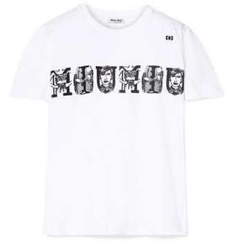 Miu Miu Printed Cotton-jersey T-shirt - White