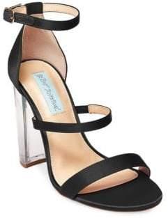 Betsey Johnson Dafne Satin Chunky Heel Sandals