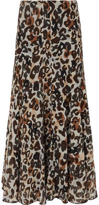 Sonia Rykiel Leopard-print Silk-chiffon Maxi Skirt - Brown