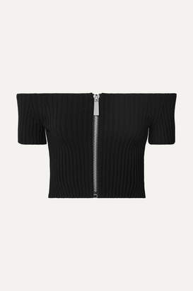 Michael Kors Cropped Off-the-shoulder Ribbed Stretch-knit Top - Black