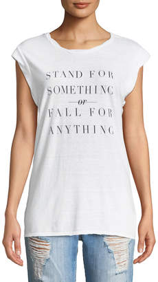 "Pam & Gela Frankie ""Stand For Something"" Crewneck Sleeveless Jersey Tee"