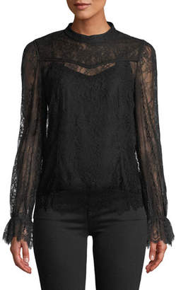 Tanya Taylor Lois Long-Sleeve Lace Top