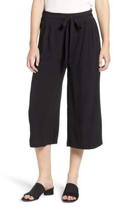 Bobeau Tie Waist Wide Leg Crop Pants