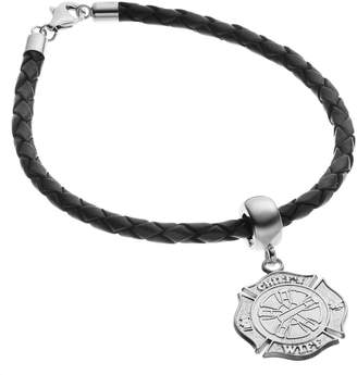 Insignia Collection Sterling Silver & Leather Fire Rescue Maltese Cross Charm Bracelet