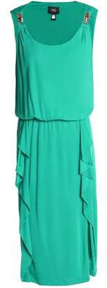 Roberto Cavalli Ruffle-Trimmed Draped Stretch-Jersey Dress