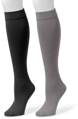 Muk Luks 2-pk. Fleece-Lined Knee High Socks