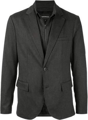 Emporio Armani layered style zipped suit jacket
