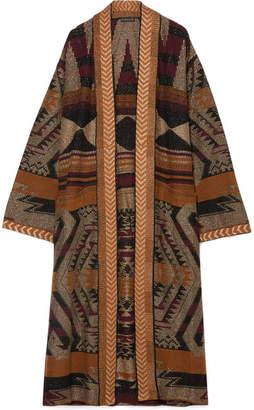 Etro Oversized Metallic Jacquard-knit Cardigan - Brown