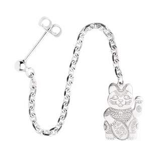 CarterGore - Silver Lucky Cat Single Long Drop Earring