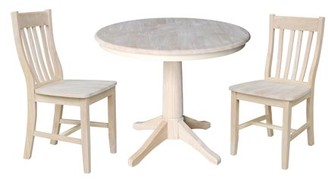 "INC International Concepts 36"" Round Pedestal Dining Table with 2 Cafe Chairs - Unfinished - 3 Piece Set"
