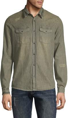 The Kooples Men's Distressed Cotton Button-Down Shirt