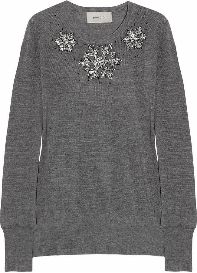 Emma Cook Snowflake embellished merino wool sweater