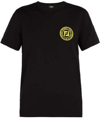 Fendi Logo Patch Crew Neck Cotton T Shirt - Mens - Black