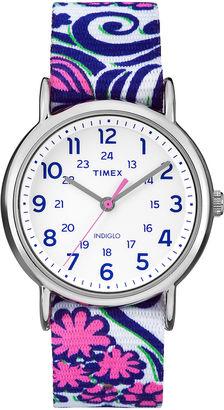 Timex Womens Weekender Blue Swirl Reversible Strap Watch $49.95 thestylecure.com