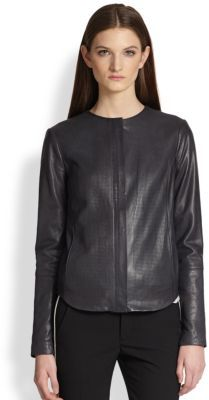 Vince Engineered Perforated Leather Jacket